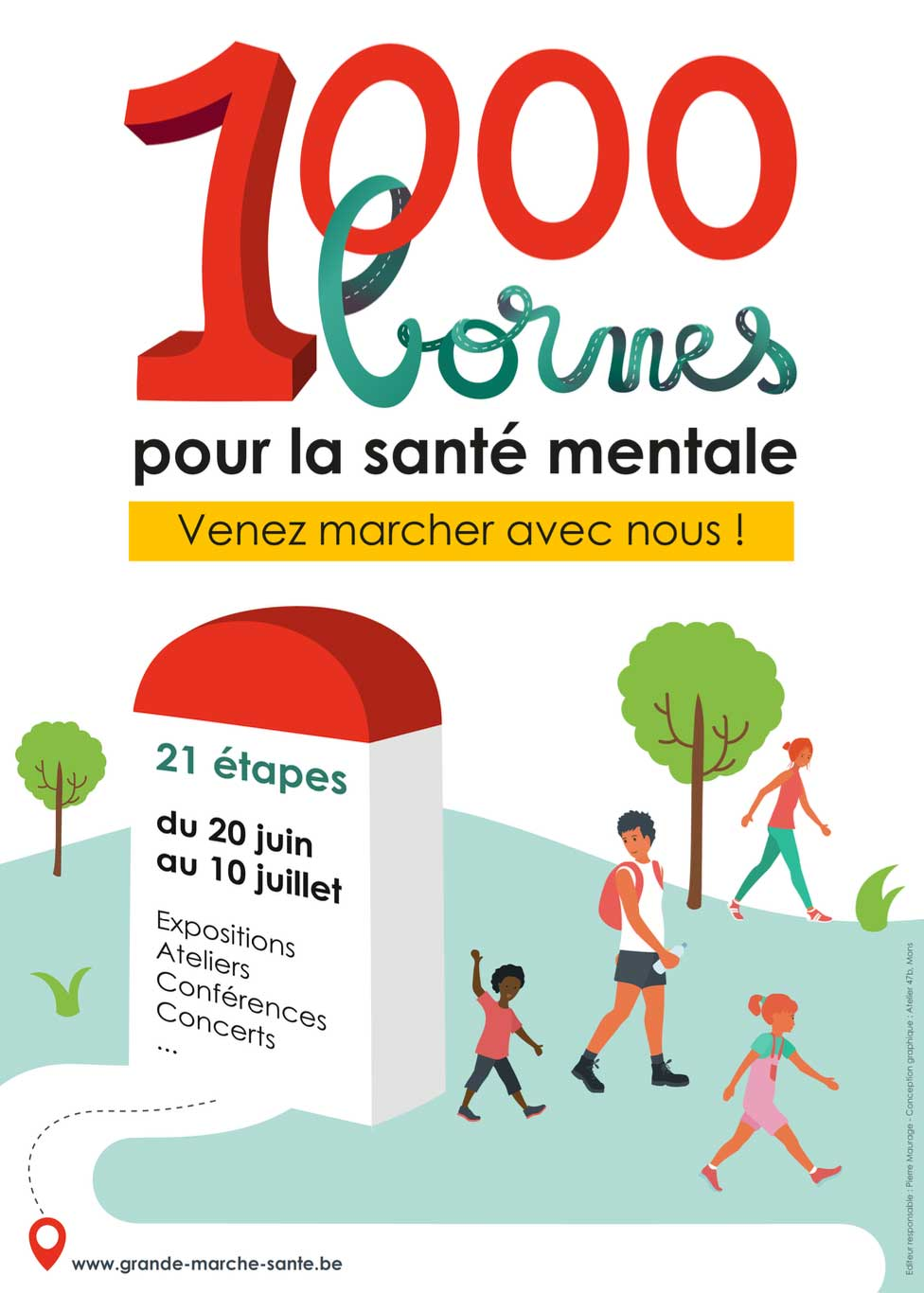 1000 bornes – La grande marche pour la santé mentale et le bien-être organisée à travers la Wallonie et à Bruxelles du 20 juin au 10 juillet 2021.