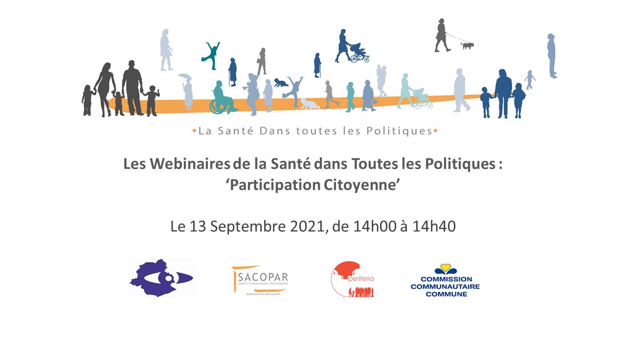 Save the date – Webinaire 'Participation citoyenne' – 13 Septembre à 14h00