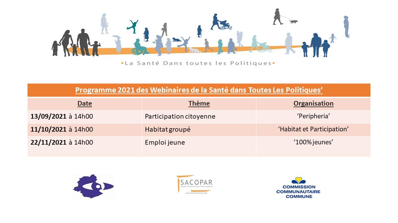 Le programme pour l'année 2021 des Webinaires de la Santé dans Toutes les Politiques - SACOPAR